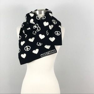 Moschino Wool Scarf Black White Hearts Peace Knit